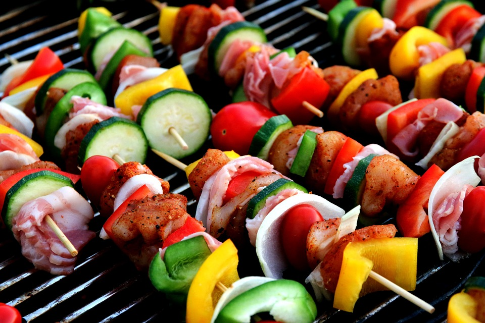 Vegetable Kebabs on the grill