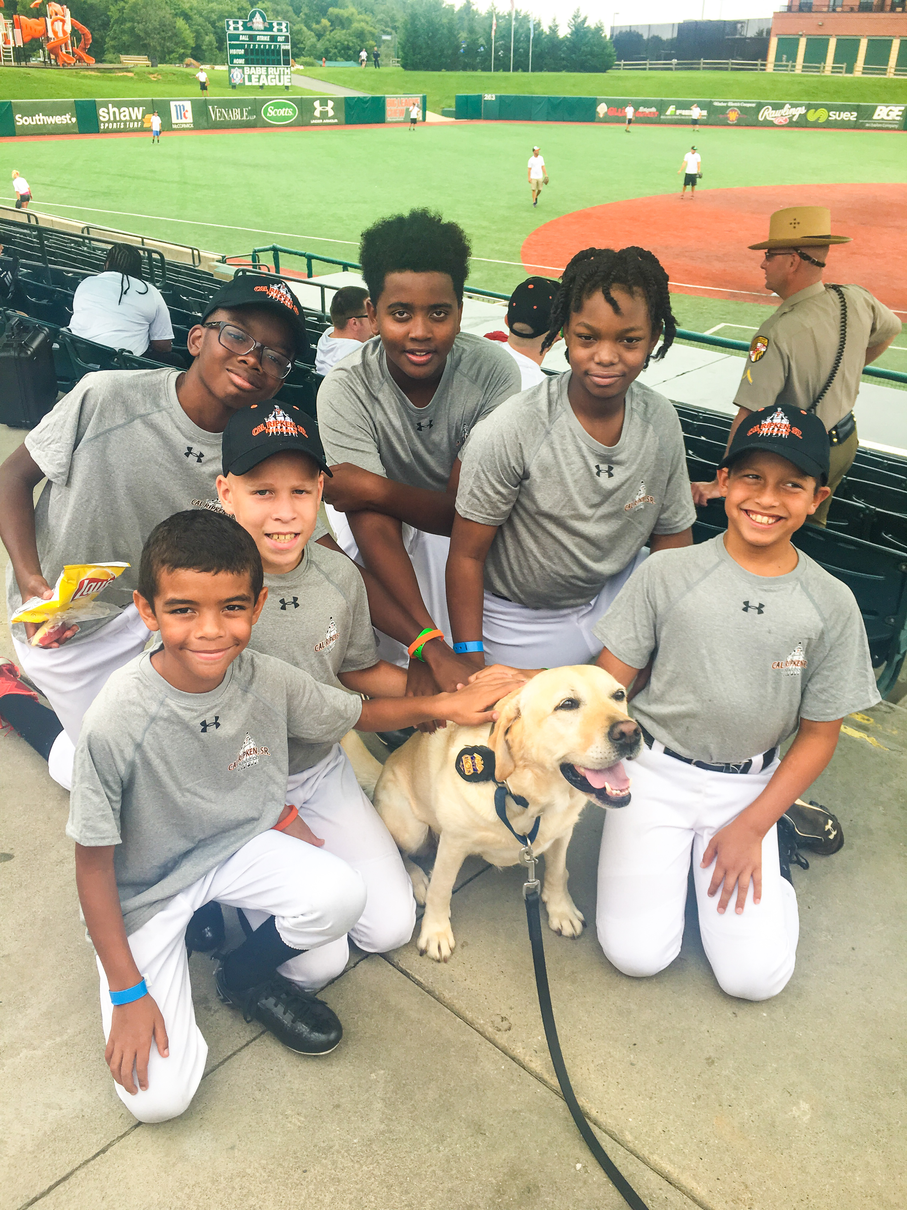 Kids with a K-9 Police Dog.