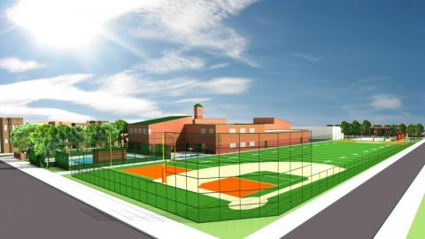 Computer drawing of the Kelly Field at Ravens Park Youth Development Park