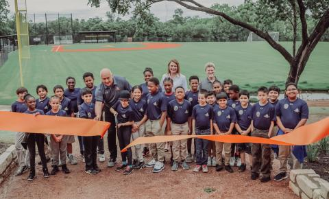 Cal Ripken, Jr. Cutting the Ribbon on CRSF Field in Austin