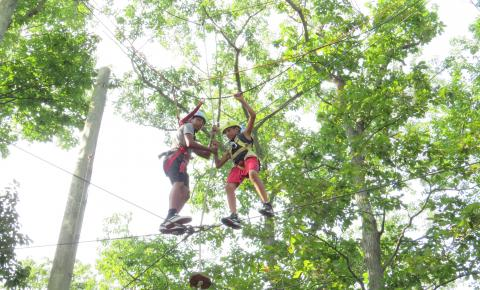Campers conquering an obstacle on the ropes course