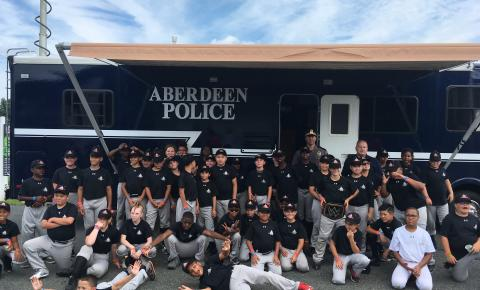 Campers with the Aberdeen Police Mobile Command Center vehicle.