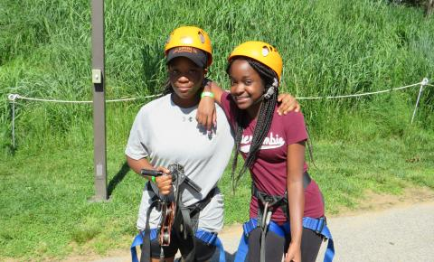 Girls getting ready to zip line