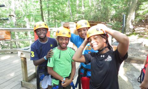 Kids at Ropes Course during Ripken Summer Camp