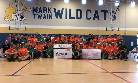 Volunteers from Devon and Home Depot